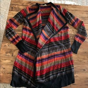 Boutique Sweater - black, red, blue, cream print